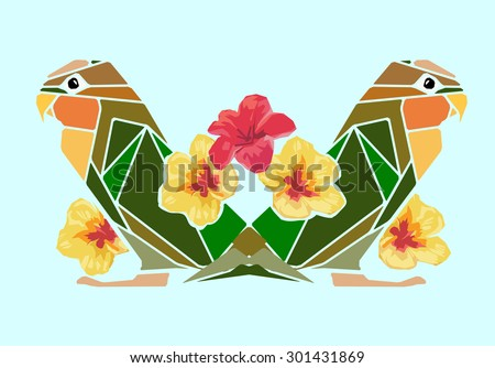 Parrot color vector illustration. Beautiful print summer tropics, flowers, pattern - stock vector