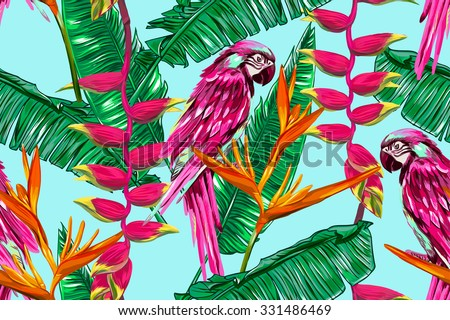 Parrot, exotic birds, tropical flowers, palm leaves, bird of paradise flower, jungle, beautiful seamless vector floral pattern background - stock vector