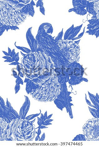 Parrot, flowers, roses, peonies, bouquets. Beautiful seamless vector floral vintage pattern background - stock vector