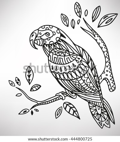 parrot. Hand-drawn with ethnic pattern. Coloring page - isolated on a white background. Zendoodle patterns. Vector illustration.