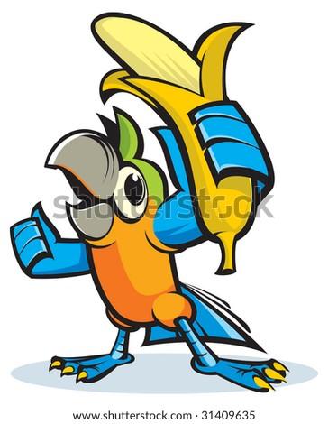 Parrot has bought a banana - stock vector