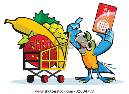Parrot in a supermarket - stock vector