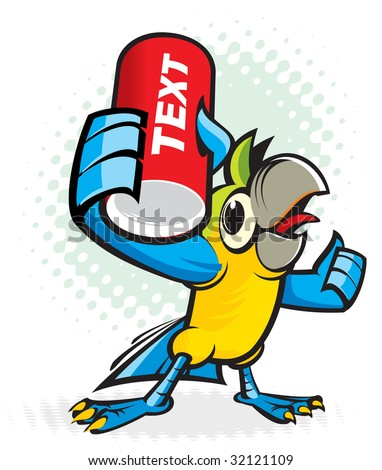 Parrot offers, advertises a drink - stock vector