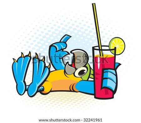 Parrot on a beach - stock vector