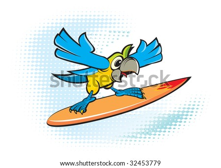 Parrot on surfing - stock vector