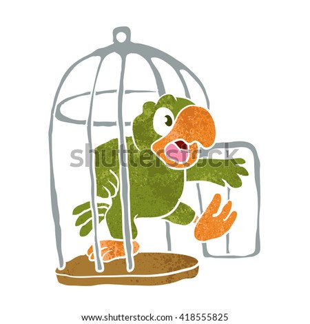 parrot out of the cage - stock vector