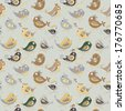 Parrot seamless colorful pattern. grey background. exotic cartoon  birds.  Use as a pattern fill, backdrop, surface texture. - stock photo