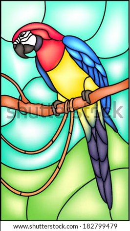 Parrot sitting on the branch in the tropical forest, vector illustration in stained glass window - stock vector