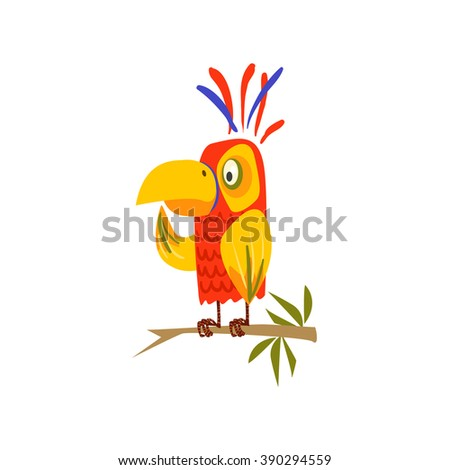 Parrot Standing On Branch Flat Cartoon Stylized Vector Illustration