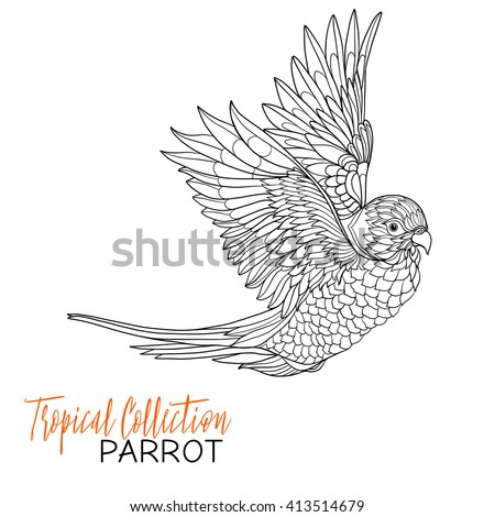 Parrot. Tropical bird. Vector illustration. Coloring book for adult and older children. Coloring page. Outline drawing. - stock vector