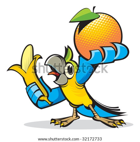 Parrot with a banana and an orange