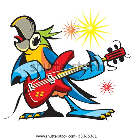 Parrot with a guitar - stock vector