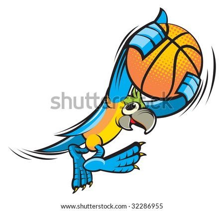 Parrot with basketball ball - stock vector