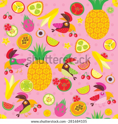 parrots and fruit on a pink background - stock vector