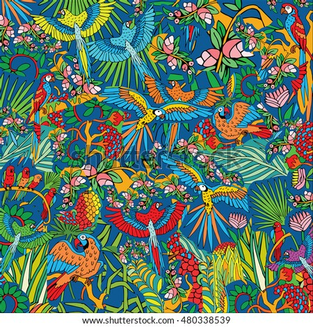 Parrots in the Jungle. Hand Drawn Tropical Life Pattern. Background on the Jungle theme.