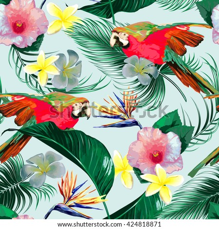 Parrots, tropical flowers, palm leaves, jungle leaves, hibiscus, bird of paradise flower, seamless vector floral exotic pattern background - stock vector