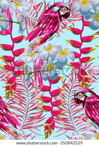 Parrots, tropical flowers, palm leaves, paradise, seamless vector floral jungle pattern background