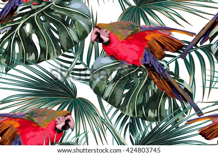 Parrots, tropical palm leaves, jungle leaves, beautiful seamless vector floral exotic pattern background - stock vector