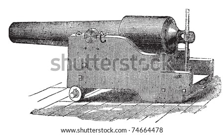 Parrott rifle or Parrott cannon old engraving. Old engraved illustration of a Parrott rifle cannon. - stock vector