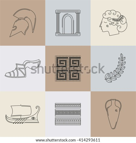Part I. Set of vector images on the theme of ancient Greece. They can be used as logo design elements, as illustration for travel agencies.