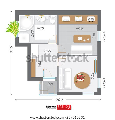 Black White House Apartment Plan House Stock Vector