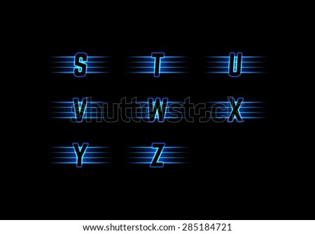Part of Blue Neon Light Alphabet. Vector Font with Stripes on Black Background. Glow Typeset. - stock vector