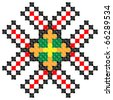 part of embroidered good like handmade cross-stitch ethnic Ukraine pattern - stock vector