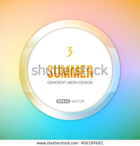 Part of Four Seasons vector set. Round frame with summer theme color palette. - stock vector
