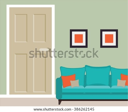Part of living room with door and sofa - stock vector