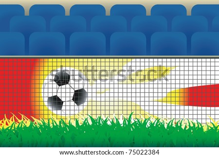 Part of soccer stadium with advertising board, grass,  and seats. - stock vector