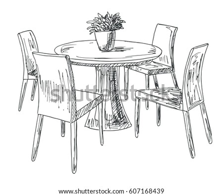 609735722 on black table white chairs