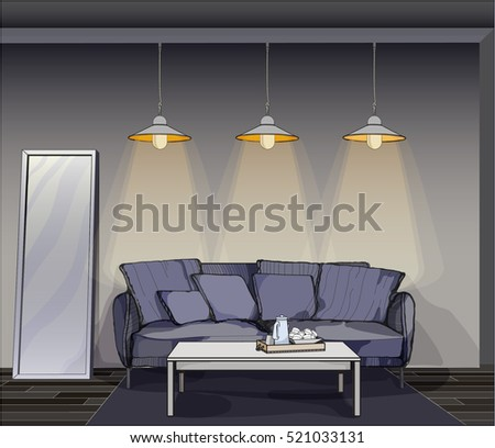 Part of the interior. Gray wall with a blue sofa and a coffee table and decorative lights. Vector drawing in hand drawn style.
