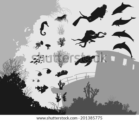 Part of the underwater world for your design. Silhouettes of different fish and animals. Corals and algae. Wreck. And the silhouette of the seabed and coral reefs - stock vector