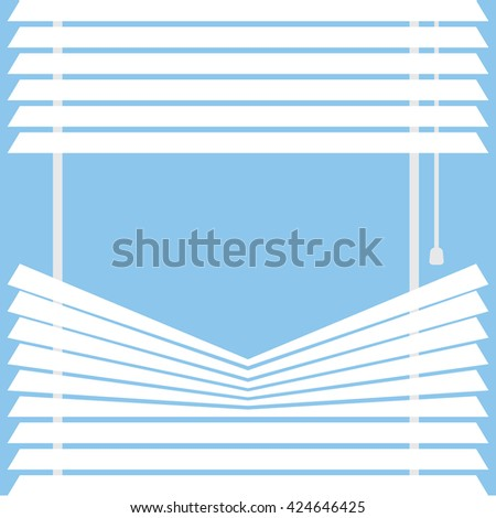 parted blinds on a blue background, vector illustration - stock vector
