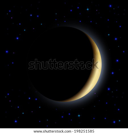 Partial eclipse of the moon in shadows space - stock vector