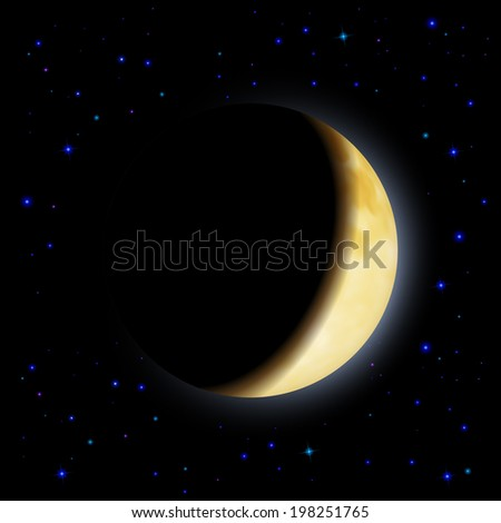 Partial eclipse of the moon in shadows space left side - stock vector