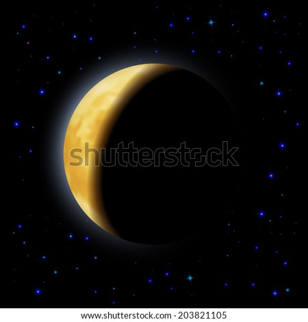 Partial eclipse of the moon in shadows space right side - stock vector