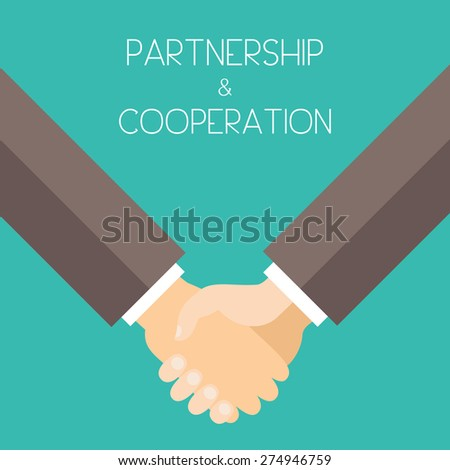Partnership and Cooperation. Business men holding hands. Flat design vector illustration. - stock vector