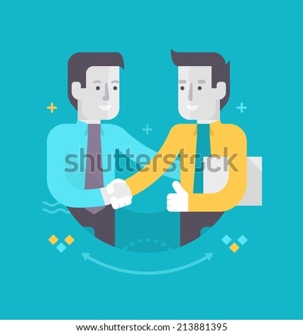 Partnership and cooperation in business. Two happy businessmen shake hands. Concept of traditional business - stock vector