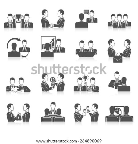 Partnership black icons set with business people corporate teamwork isolated vector illustration - stock vector