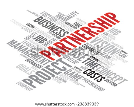 PARTNERSHIP business concept in word tag cloud, vector background - stock vector