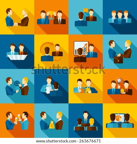 Partnership flat icons set with business executive and employees isolated vector illustration - stock vector