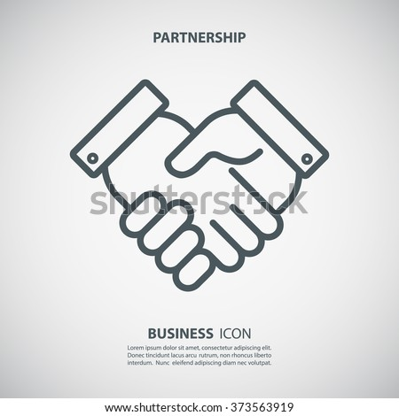 Partnership icon. Handshake icon. Teamwork and friendship. Business concept. Flat vector illustration. - stock vector