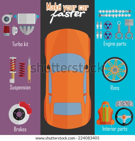Parts for cars. Tuning and modernization. - stock vector