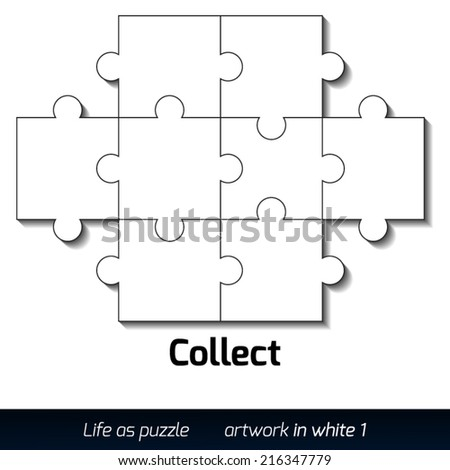 Parts of flat white paper puzzles with shadow. Teamwork. Business concept - stock vector