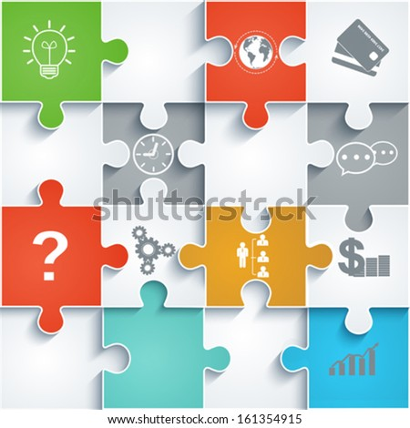 Parts of paper puzzles with icons. Business concept, template interface, layout, infographics. - stock vector