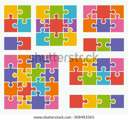 Parts of puzzles on white background in colored colors. Set of puzzle 2, 3, 4, 6, 8, 9, 16 pieces - stock vector