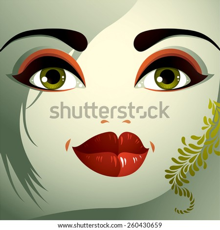Parts of the face of a young beautiful lady with a bright make-up, lips, eyes and eyebrows. People facial expression, surprised woman with modern hairstyle. - stock vector