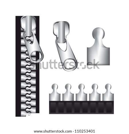 parts of the zippers isolated over white background. vector