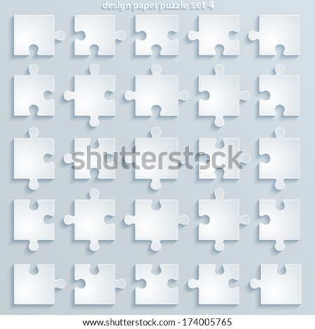 Parts puzzles. Paper square Jigsaw Puzzle Templates - stock vector